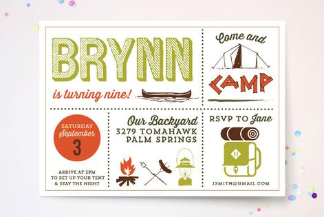Happy Camper Childrens Birthday Party Invitations