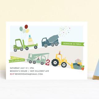 Trucks on Parade Children's Birthday Party Invitations