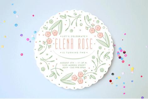 Flower Wreath Birthday Children's Birthday Party Invitations