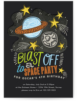 Blast Off to Space Children's Birthday Party Invitations