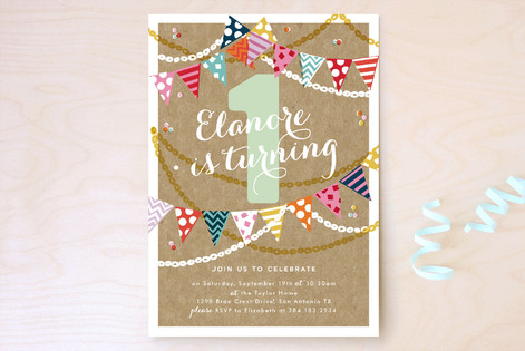 Garland Celebration Children's Birthday Party Invitations