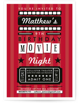 Drive in Movie Night Children's Birthday Party Invitations