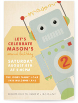 Robots Like to Party Children's Birthday Party Invitations