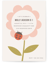 The Flower and the Ladybug Children's Birthday Party Invitations