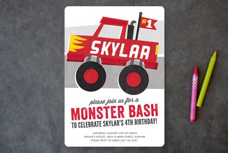 Mighty Monster Truck Children's Birthday Party Invitations