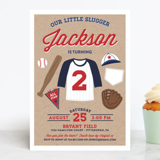 Little Slugger Children's Birthday Party Invitations