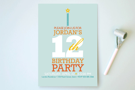 Typography Cake Children's Birthday Party Invitations