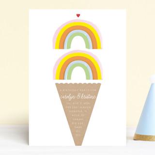 Double Rainbow Scoop Children's Birthday Party Invitations