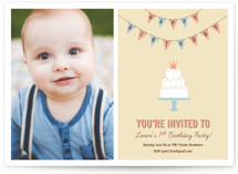 Cake and Banner Children&#039;s Birthday Party Invitations