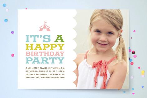 Circus Tent Children's Birthday Party Invitations