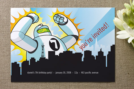 Robot Attack Children's Birthday Party Invitations