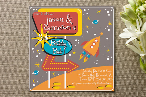 Retro Space Children's Birthday Party Invitations
