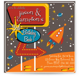 Retro Space Children&#039;s Birthday Party Invitations