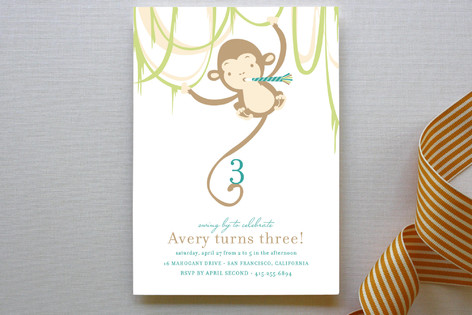 Monkey Around Children's Birthday Party Invitations