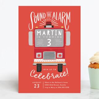 Sound the Alarm Firetruck Children's Birthday Party Invitations
