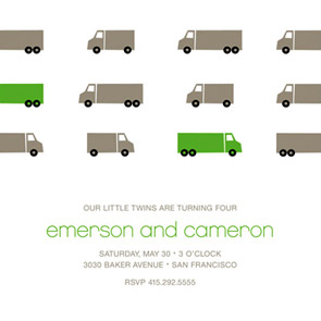 Truck Parade Childrens Birthday Party Invitation