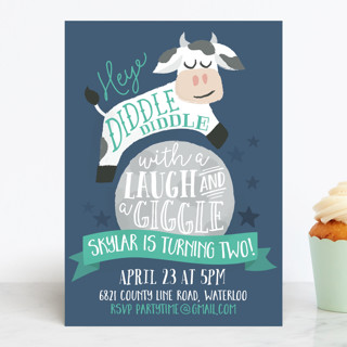 Over the Moon Children's Birthday Party Invitations