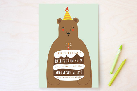 birthday bear children s birthday party invitation minted