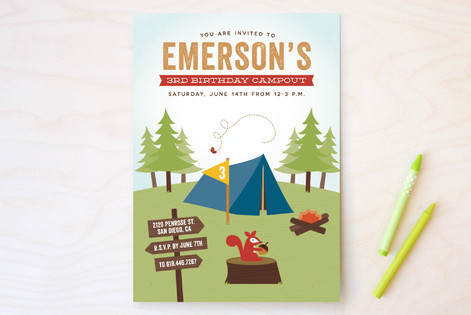 Critter Camping Children's Birthday Party Invitations