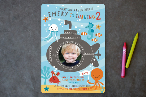 Submarine Adventure Children's Birthday Party Invitations