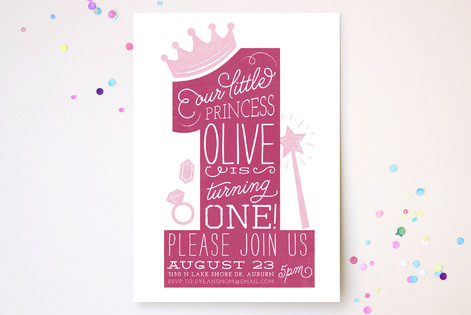 One Princess Children's Birthday Party Invitations