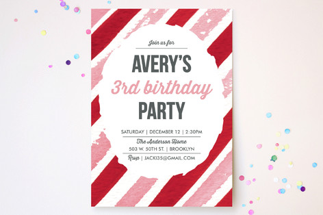 Candy Cane Watercolor Stripes Children's Birthday Party Invitations