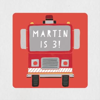 Sound the Alarm Firetruck Children's Birthday Party Stickers