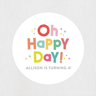Happy Day Children's Birthday Party Stickers
