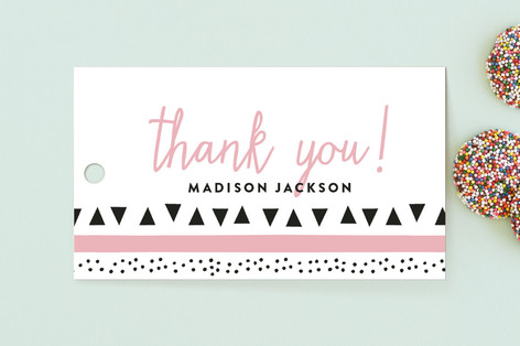 Tri Dotted Frame Children's Birthday Party Favor Tags