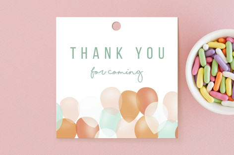 balloons in two Children's Birthday Party Favor Tags