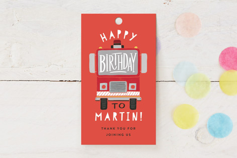 Sound the Alarm Firetruck Children's Birthday Party Favor Tags