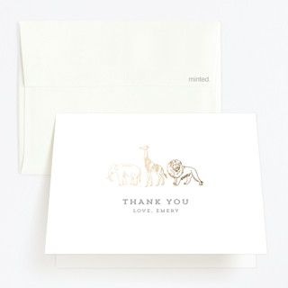 Animal Parade Foil-Pressed Children's Birthday Party Thank You Cards