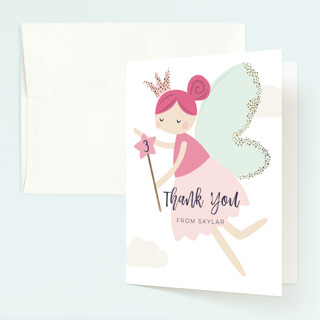 glitter fairy Foil-Pressed Children's Birthday Party Thank You Cards