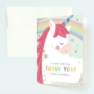 unicorno Foil-Pressed Children's Birthday Party Thank You Cards