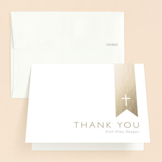 Gold on White Confirmation Thank You Cards
