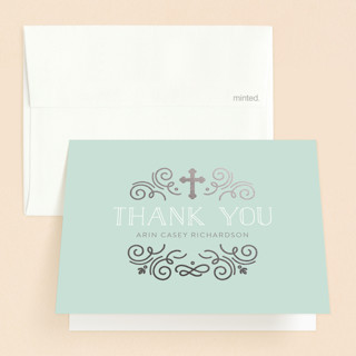 Creamy Swirls Foil-Pressed Baptism and Christening Thank You Cards
