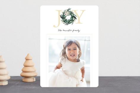 Joyful Evergreen Wreath Christmas Photo Cards