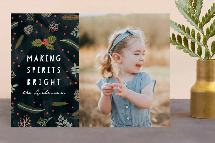 """""""Bright Spirit"""" - Floral & Botanical, Hand Drawn Christmas Photo Cards in Ink by iamtanya."""