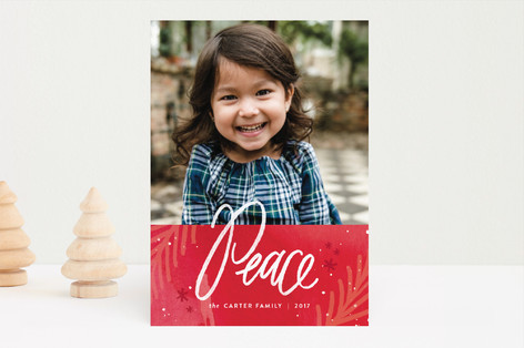 paint splattered peace Christmas Photo Cards