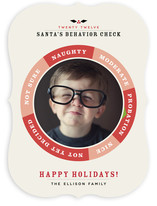 Santa&#039;s Behavior Check Christmas Photo Cards