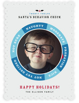 Santa's Behavior Check Christmas Photo Cards