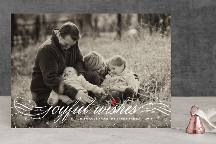 """""""Joyful Wishes"""" - Elegant, Full-Bleed Photo Christmas Photo Cards in Snow by Coco and Ellie Design."""