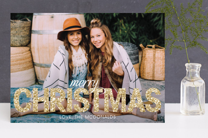 """Bold Sparkle"" - Bold typographic, Full-Bleed Photo Christmas Photo Cards in Gold by Jen Soll."