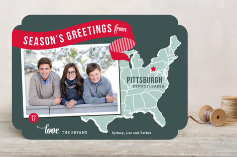 Holiday Map Postcard - East Coast Christmas Photo Cards
