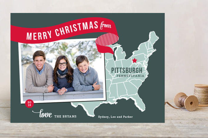 """Holiday Map - East Coast"" - Cities & States, Modern Christmas Photo Cards in Cherry by Jill Means."