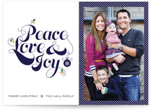Red Peace Love and Joy Christmas Photo Cards