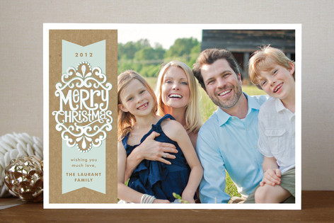 Kraft Ribbon Christmas Photo Cards