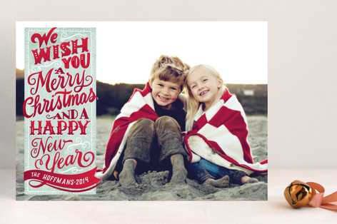 Vintage Holiday Wishes Christmas Photo Cards