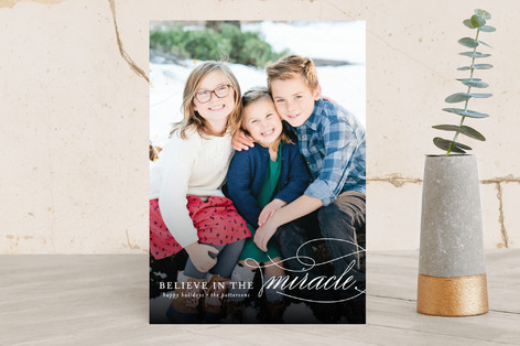 Believe In The Miracle Christmas Photo Cards