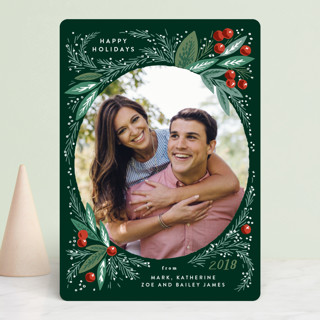 Snow Globe Pine Branches Christmas Photo Cards